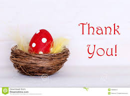 Thank You Easter One Red Easter Egg In Nest With Thank You Stock Image