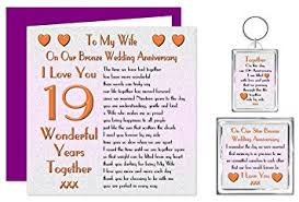 my wife 19th wedding anniversary gift set card keyring fridge magnet present