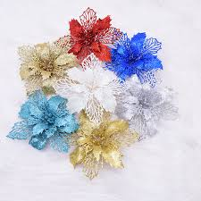 <b>5pcs</b>/lot 16cm <b>Glitter Artificial Flowers</b> Christmas Tree Ornament for ...