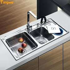 dual trough sink kitchen stainless steel wash basin have with garbage barrel sinks commercial