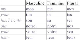 Possessive Pronouns In French Chart New Possessive Pronouns French Chart