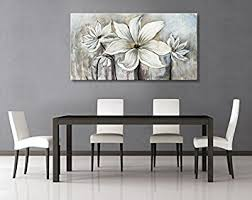 dining room wall art amazon. seekland art hand painted canvas wall white flowers lotus oil painting modern contemporary artwork abstract dining room amazon s