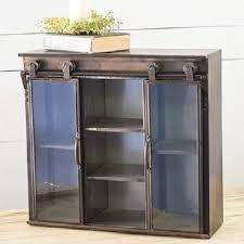 glass sliding barn door storage cabinet