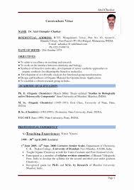 Resume Sample For Fresher Teacher Elegant Mba Finance Fresher Resume