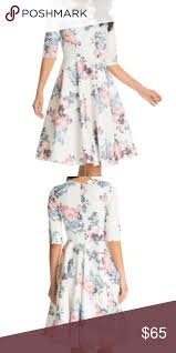 Chi Chi London Jo Dress Fit And Flare Floral 3 4 Sleeve