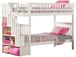 bunk bed with stairs for girls. Decorating Surprising White Bunk Beds With Stairs 24 Trendy Girl Bed Bedding 691x518 For Girls