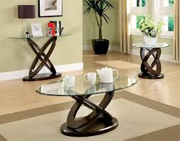 best glass coffee table set coaster 3 piece glass top coffee table set in cappuccino glass