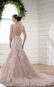 lace and tulle v neck fit flare wedding gown essense of australia