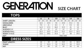 Studio 17 Size Chart Size Chart Generation Studio By Tcs