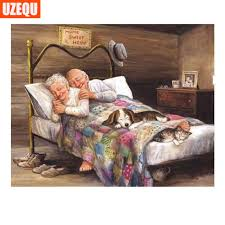 Aliexpress Buy UzeQu 40D Diamond Embroidery People Old Couple Enchanting Sweet Home 3D Furniture Painting