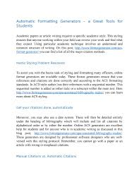 Automatic Formatting Generators A Great Tools For Students By