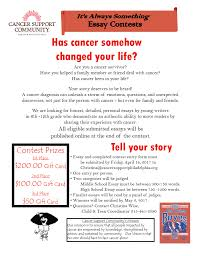 teen essay contest cancer support community greater philadelphia please print and fill out entry form and submit to christina cancersupportphiladelphia org
