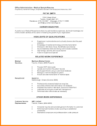 Resume For Medical Receptionist Medical Clerical Resume Samples Office Assistant Objective Examples 13