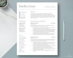 Modern Resume Template Professional Cv Template Cv Design Clean Resume Professional Resume Template Instant Download 3 Page Resume