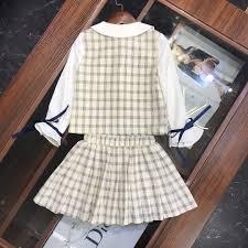 Designer Plaid Skirt 2019 Girls Skirts Sets Kids Designer Clothing Lapels Color Matching Fake Two Piece Blouse Plaid Skirt Autumn Cotton Sets News From Kaiyi5210 32 03