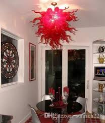 2018 frosted red blown glass chandelier most popular ce ul certificate graceful led pendant lighting for wedding decoration from sunrich228