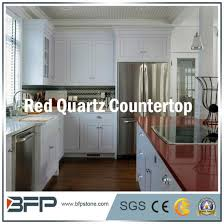 polished engineered natural red quartz for kitchen countertop pictures photos