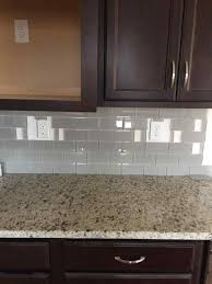 Kitchen Backsplash Glass Tile Dark Cabinets Cabinets White