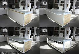 bed in office. From Desk To Bed In A Few Easy Steps; The Transforms Into Sleeping Office