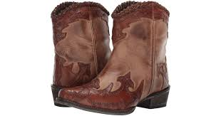 lyst roper abigale burnished brown leather tooled wingtip crown cowboy boots in brown