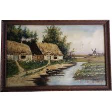 h m c wilda antique dutch landscape windmill thatched roof houses oil painting initialed by artist