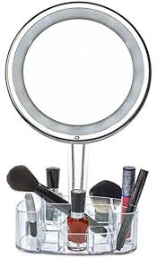 led light up makeup mirror. daisi magnifying lighted makeup mirror with cosmetic organizer base | 7x magnification, led free led light up g