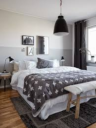 candinavian bedroom with half painted wall