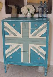 Duck Egg blue and Old White Union Jack dresser (teal color was already  there,
