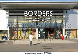 Exterior facade of Borders Book Store with sign and logo USA