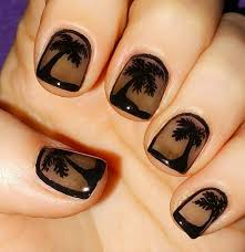 black palm tree nail art
