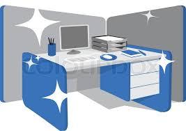 office desk workstation. Clean Office Desk / Workstation, Vector Workstation
