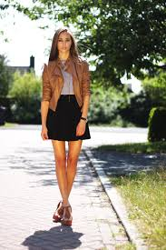 brown leather jacket biker cropped black pleated skirt