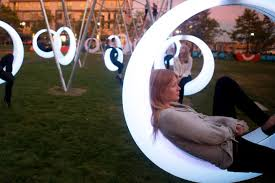 Leisure Lighting Danvers Ma Swing Time Lights Up The Lawn On D The Boston Globe