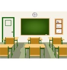 classroom table vector. empty school classroom with blackboard vector image table