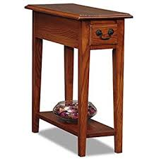 Country Style Narrow Nightstand Rectangle Wooden Medium Oak Chair Side  Table with Storage Drawer - Includes