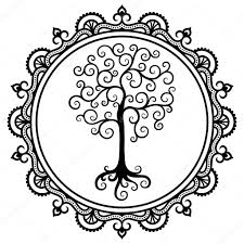 A Circular Pattern In The Form Of A Mandala Tree Decorative Symbol