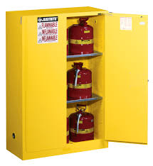 Yellow Flammable Cabinet 2 Self Close Doors 65x 43x 18 2 Shelves Yellow