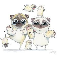 cute pug drawing. Fine Drawing Pug Family Portrait Art Print  Funny Pugs And Puppies Watercolor  Illustration Line Inside Cute Drawing D