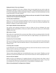 Getting The Perfect Cv For Job In Pakistan By