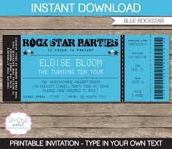 Invitation Ticket Template Rockstar Party Ticket Invitation Template Blue Birthday 14