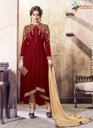 Front Open Salwar Designs Stunning Dark Red Falcon Velvet Front Open Suit Designer