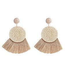 Handmade Circle <b>Fan Shaped</b> Straw Tassel <b>Earrings</b> - eFOLKY