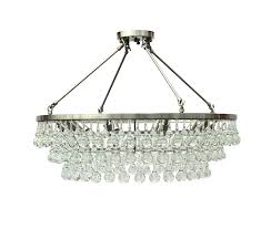 brushed nickel crystal chandelier flush mount glass drop orb