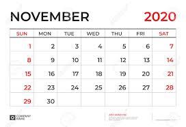 November 2020 Calendar Clip Art November 2020 Calendar Template Desk Calendar Layout Size 9 5 X 6 5 Inch Planner Design Week Starts On Sunday Stationery Design Vector Eps10