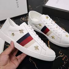 gucci ace sneaker with bees and stars white leather designergu