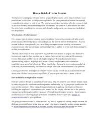 Resume Summary Samples For Freshers Resume Summary Examples Entry