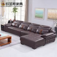 New Model L Shaped Modern Italy Genuine Real Leather Sectional Enchanting Leather Couch Living Room Ideas Model