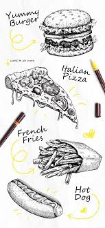 fast food sketch set detailed hand drawn ilrations on behance
