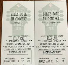 Fenway Park Concert Seating Chart Billy Joel Two Tickets For Billy Joel At Fenway Park September 14 2019