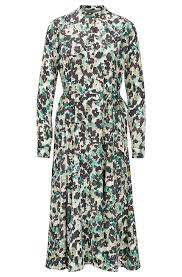BOSS - <b>Long</b>-<b>sleeved</b> dress in <b>floral</b>-<b>print</b> twill